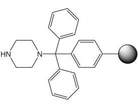 Piperazine-trityl resin
